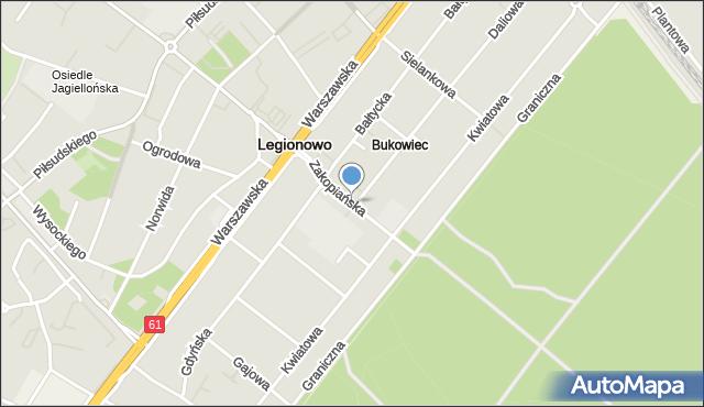 Legionowo, Zakopiańska, mapa Legionowo
