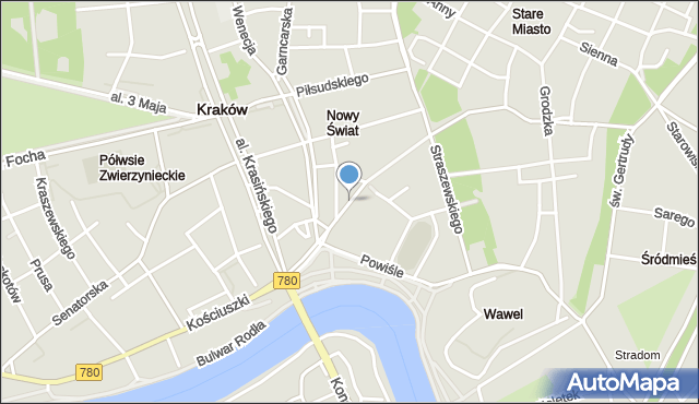 Kraków, Zwierzyniecka, mapa Krakowa