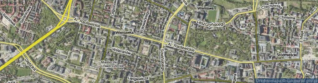 Zdjęcie satelitarne Aleje Racławickie