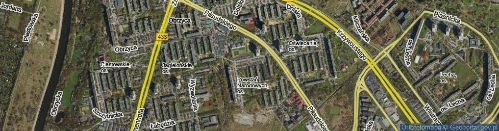 Zdjęcie satelitarne Osiedle Powstań Narodowych os.