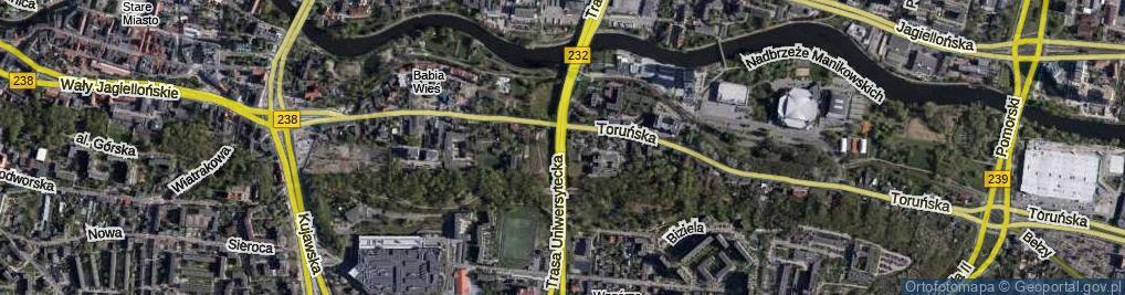 Zdjęcie satelitarne Trasa Uniwersytecka ul.