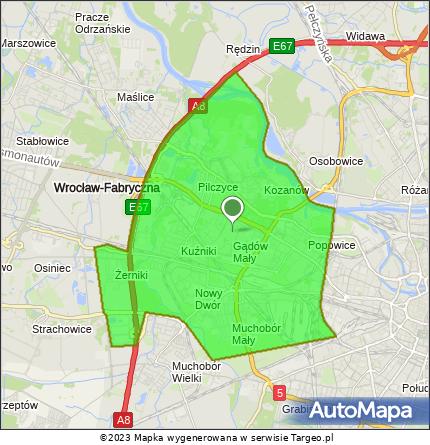 Mapa obszaru bezpłatnej dostawy