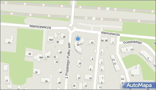 Warszawa, 1 Praskiego Pułku Wojska Polskiego, 33, mapa Warszawy
