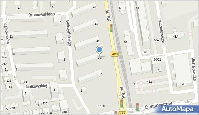 Częstochowa, Aleja Armii Krajowej, 39, mapa Częstochowy