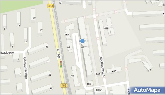 Częstochowa, Aleja Armii Krajowej, 66, mapa Częstochowy