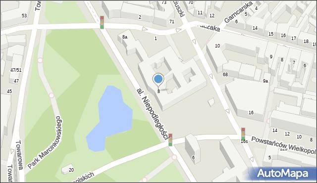 Poznań, Aleja Niepodległości, 8, mapa Poznania
