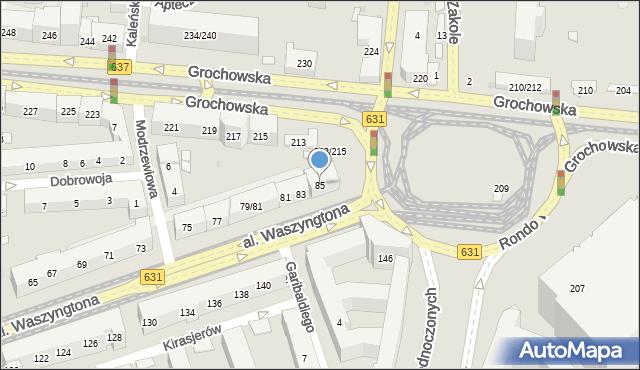 Warszawa, Aleja Waszyngtona Jerzego, 85, mapa Warszawy