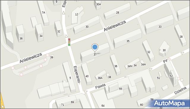 Warszawa, Anielewicza Mordechaja, 37, mapa Warszawy
