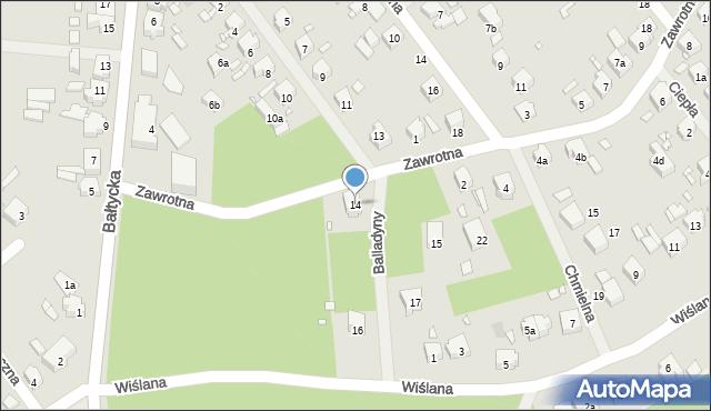 Szczecin, Balladyny, 14, mapa Szczecina