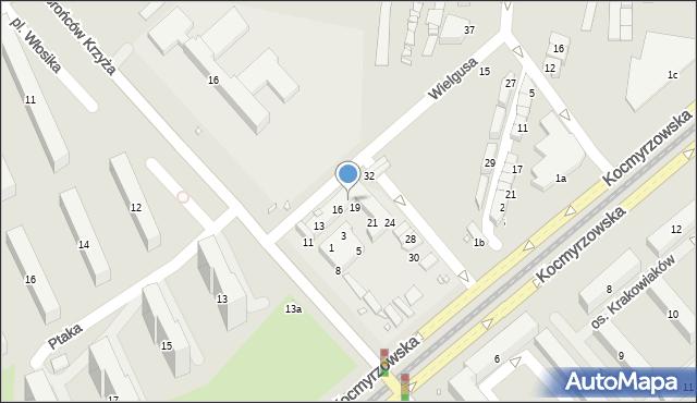 Kraków, Bieńczycki Plac Targowy, 18, mapa Krakowa