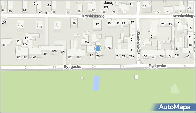 Toruń, Bydgoska, 78, mapa Torunia