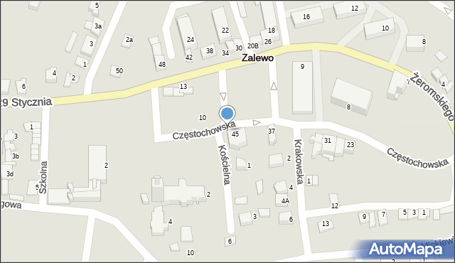 Zalewo, Częstochowska, 13, mapa Zalewo