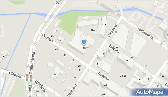 Katowice, Dąbrówki, 10, mapa Katowic