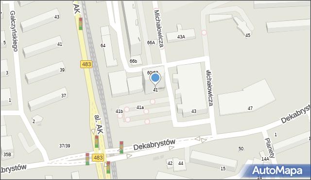 Częstochowa, Dekabrystów, 41, mapa Częstochowy
