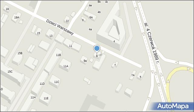 Warszawa, Dzieci Warszawy, 9, mapa Warszawy
