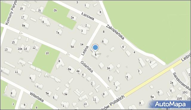 Łask, Gdańska, 5, mapa Łask