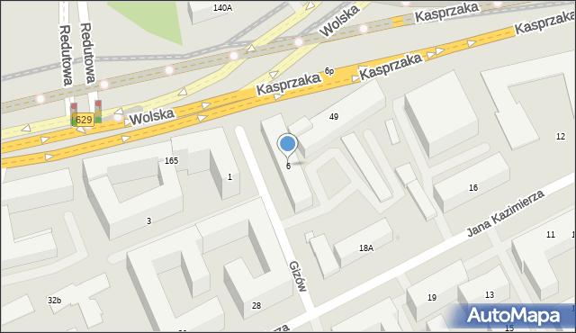 Warszawa, Gizów, 6, mapa Warszawy