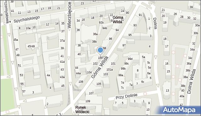 Poznań, Górna Wilda, 100, mapa Poznania