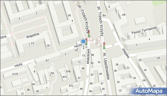 Warszawa, Hoża, 1, mapa Warszawy