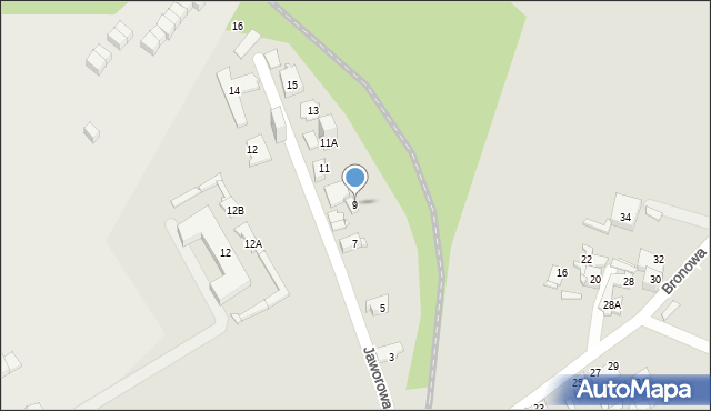 Sosnowiec, Jaworowa, 9, mapa Sosnowca
