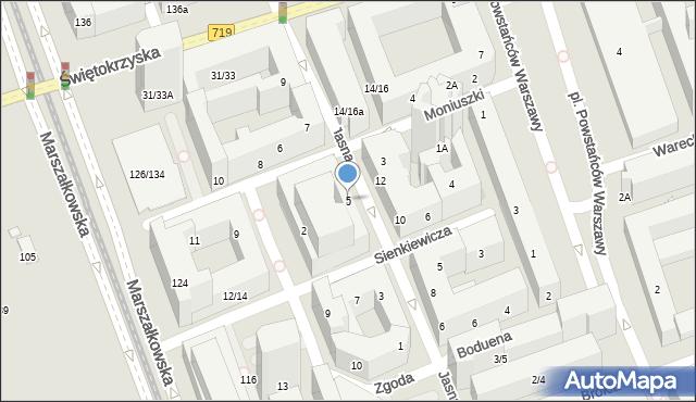 Warszawa, Jasna, 5, mapa Warszawy