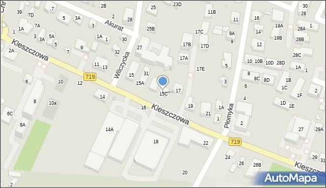 Warszawa, Kleszczowa, 15C, mapa Warszawy