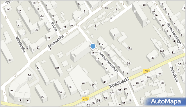 Kraków, Komorowskiego Bolesława, 12, mapa Krakowa