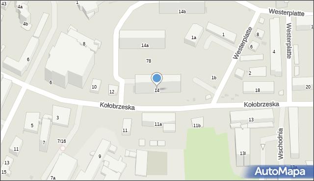 Olsztyn, Kołobrzeska, 14, mapa Olsztyna