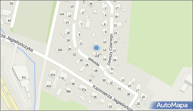 Olsztyn, Księcia Witolda, 11a, mapa Olsztyna
