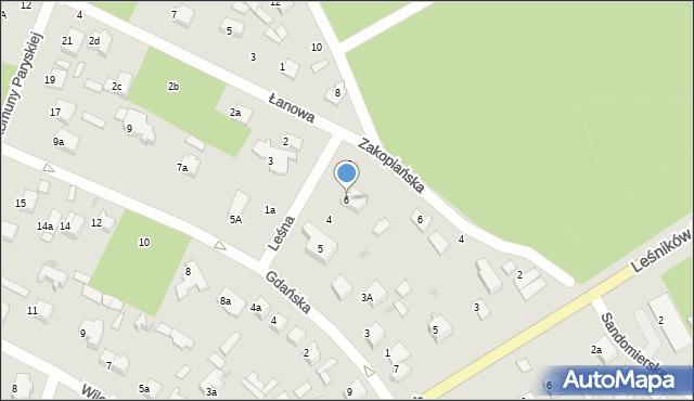 Łask, Leśna, 6, mapa Łask