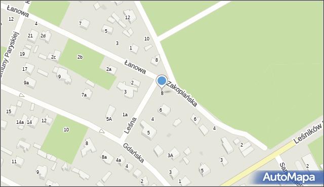 Łask, Leśna, 8, mapa Łask