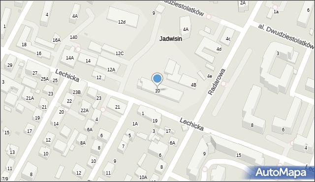Warszawa, Lechicka, 10, mapa Warszawy