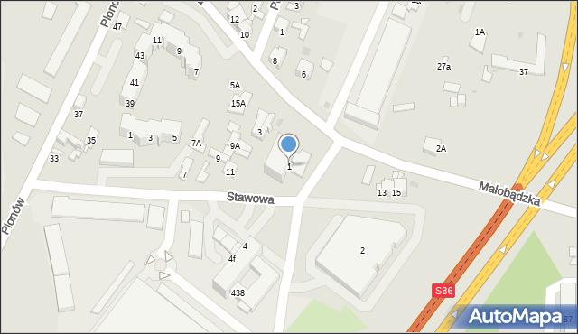Sosnowiec, Małobądzka, 1, mapa Sosnowca