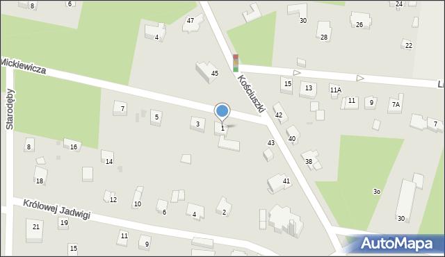 Milanówek, Mickiewicza Adama, 1, mapa Milanówek