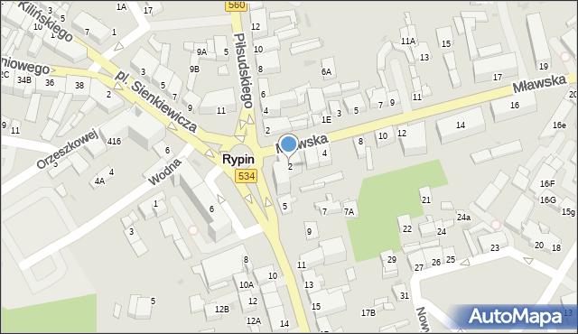Rypin, Mławska, 2, mapa Rypin