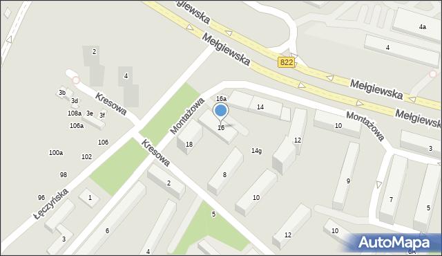 Lublin, Montażowa, 16, mapa Lublina