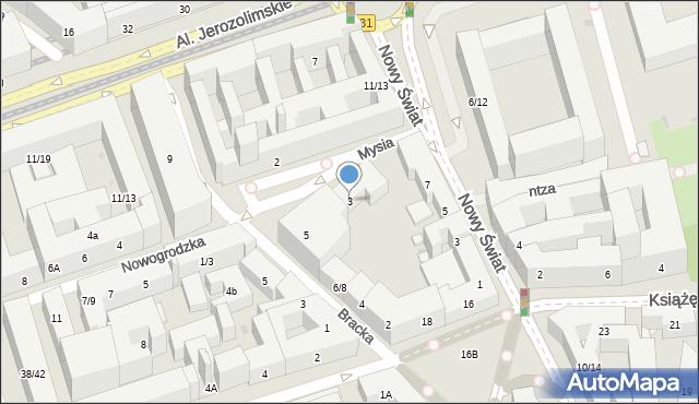 Warszawa, Mysia, 3, mapa Warszawy