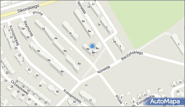 Bielawa, Norwida Cypriana Kamila, 8c, mapa Bielawa