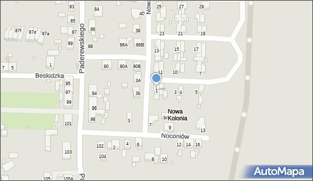 Zabrze, Nowa Kolonia, 1, mapa Zabrza