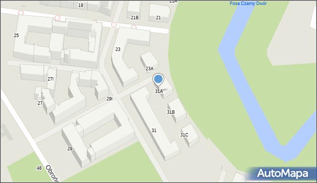 Warszawa, Obrońców Tobruku, 31A, mapa Warszawy