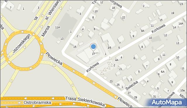 Warszawa, Płowiecka, 17, mapa Warszawy