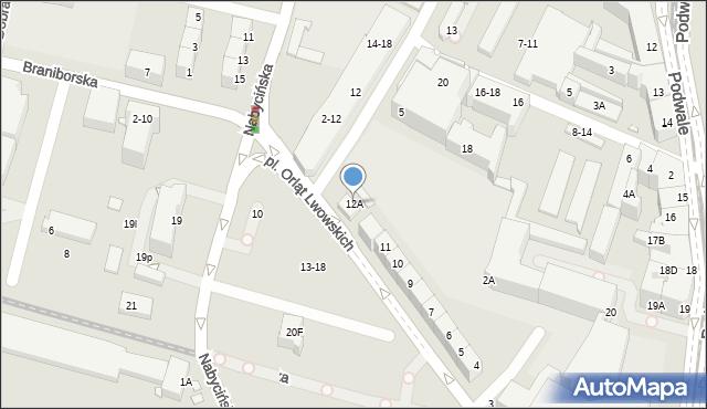 Wrocław, Plac Orląt Lwowskich, 12A, mapa Wrocławia