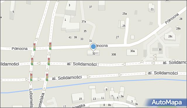Lublin, Północna, 32, mapa Lublina