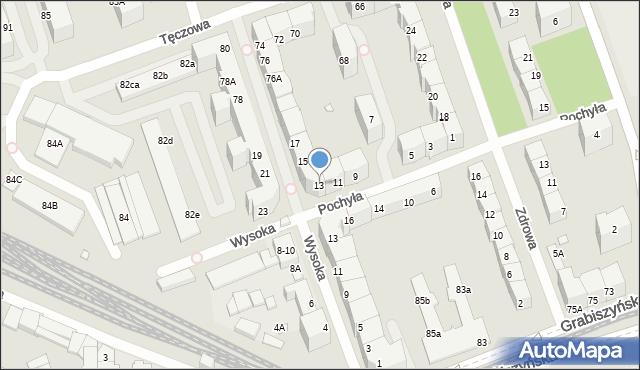 Wrocław, Pochyła, 13, mapa Wrocławia