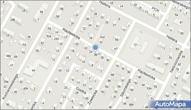 Nowy Sącz, Racławicka, 26, mapa Nowego Sącza