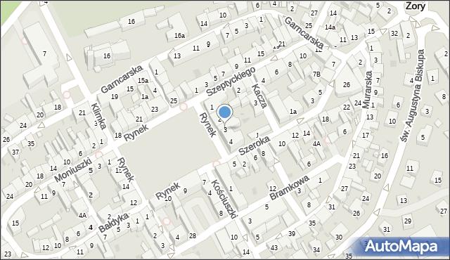 Żory, Rynek, 3, mapa Żor