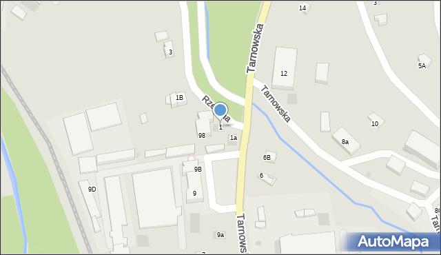 Limanowa, Rzeczna, 1, mapa Limanowa