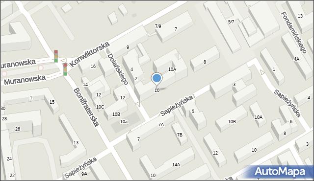 Warszawa, Sapieżyńska, 10, mapa Warszawy
