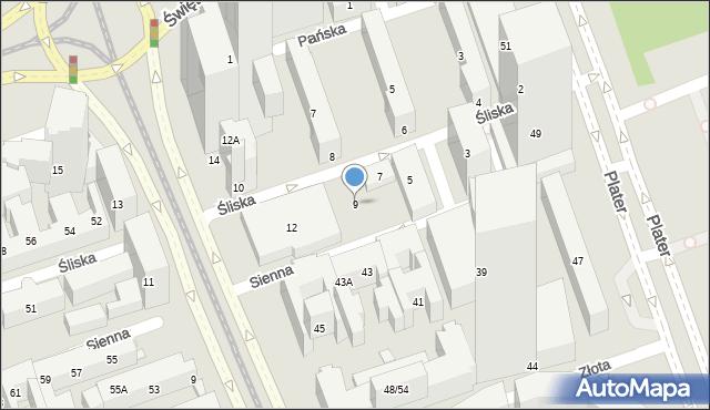 Warszawa, Śliska, 9, mapa Warszawy