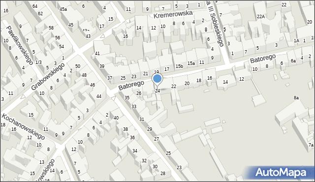 Kraków, Stefana Batorego, 24, mapa Krakowa